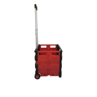 Large Foldable Plastic Trolley Crate in Black & Red