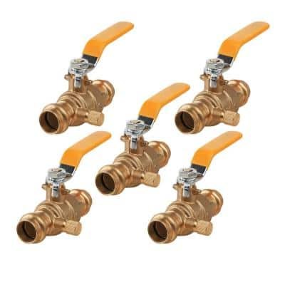 1/2 in. Press Brass Ball Valve with Drain (Pack of 5)