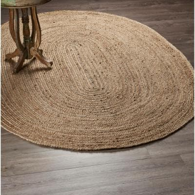 Natural Jute Natural / Gray 7 ft. x 9 ft. Oval Indoor Area Rug