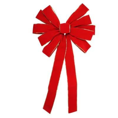 24 in. x 42 in. Large 11-Loop Velveteen Christmas Bow with Gold Trim, Red
