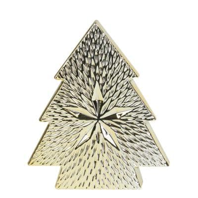 8 in. Gold Ceramic Textured Tree with Star Table Top Christmas Decoration