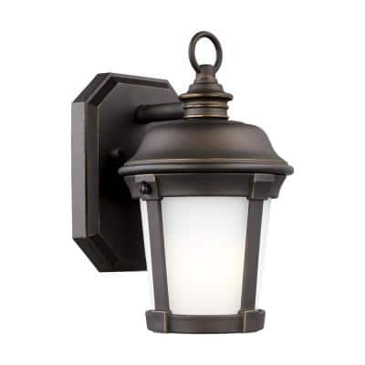 Calder 1-Light Antique Bronze Outdoor 10 in. Wall Lantern Sconce with LED Bulb
