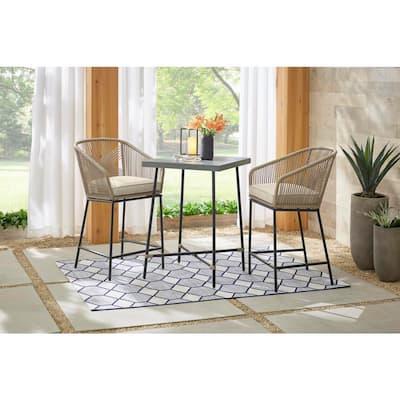 Haymont 3-Piece Steel Wicker Outdoor Patio Bistro Set with Beige Cushions