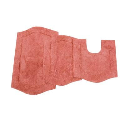 Waterford Collection Coral 17 in. x 24 in. / 21 in. x 34 in. / 20 in. x 20 in. Bath Rug Set