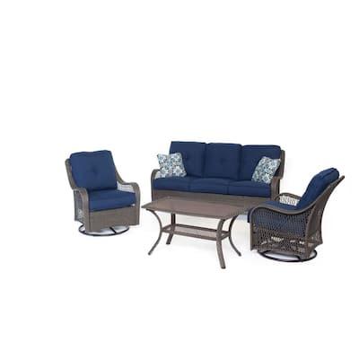 Merritt 4-Piece All-Weather Wicker Patio Conversation Set with Navy Blue Cushions