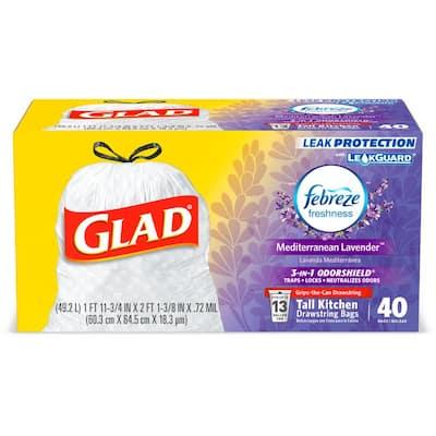 13 Gal. Tall Kitchen Drawstring Febreze Lavender Odor Shield Trash Bags (40-Count)