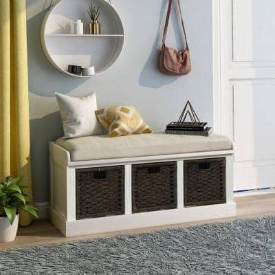 White Entryway Storage Bench with Removable Cushion and 3-Removable Classic Fabric Basket