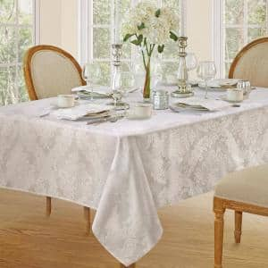 60 in. W x 120 in. L White Barcelona Damask Fabric Tablecloth