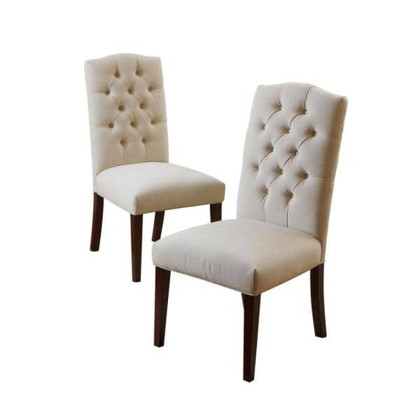 Off White Linen Dining Chair Set, White Linen Dining Room Chairs
