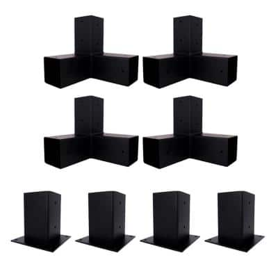 10 ft. x 10 ft. Black Steel Brackets Kit Pergola
