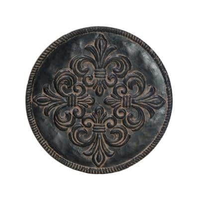 12 in. Dia x 1 in. H Aged Charcoal Composite Fleur De Lis Stepping Stones (Set of 3)
