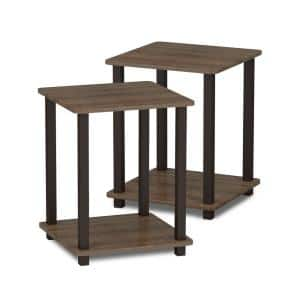 Simplistic Walnut/Brown End Table (2-Pack)