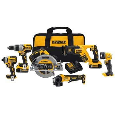 20-Volt MAX Cordless Combo Kit (6-Tool) with (2) 20-Volt 5.0Ah Batteries & Charger