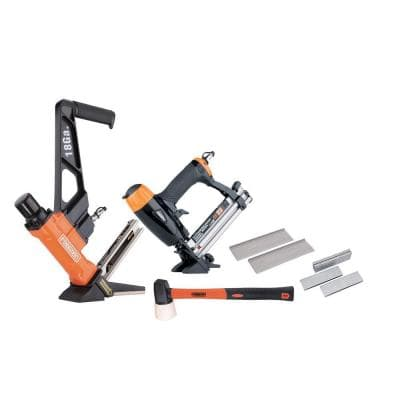Professional Pneumatic Flooring Nailer Kit with Fasteners (2-Piece)