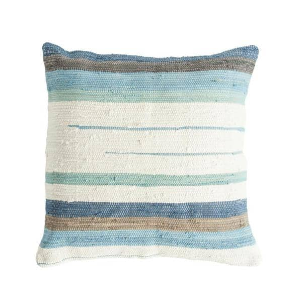 3r Studios Blue Green And Brown 32 In X 32 In Throw Pillow Striped Cotton Blend Chindi Df1659 The Home Depot