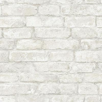 White Denver Brick White Textured Wallpaper Sample