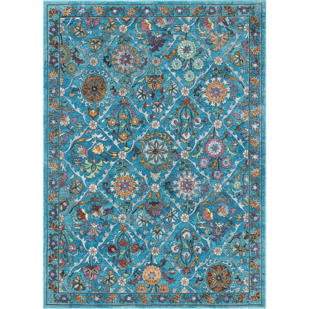 Well Woven Bleecker St Sabra Blue Bohemian Vintage Floral Mandala 5 Ft 3 In X 7 Ft 3 In Area Rug Bl 44 5 The Home Depot