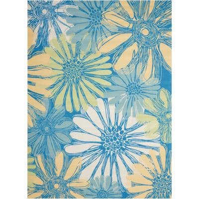 Home and Garden Daisies Blue 5 ft. x 7 ft. Floral Contemporary Indoor/Outdoor Area Rug