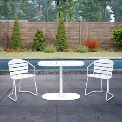 3-Piece Steel Outdoor Patio Bistro Set in White