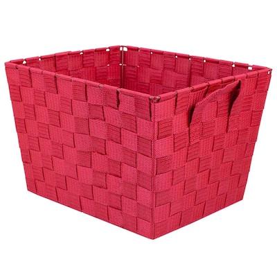 12 in. D x 8 in. H x 10 in. W Red Fabric Cube Storage Bin