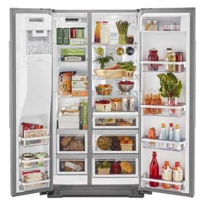 19.8 cu. ft. Side by Side Refrigerator in Stainless Steel with PrintShield Finish, Counter Depth