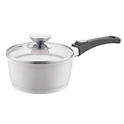 Vario Click Pearl 1.25 qt. Cast Aluminum Ceramic Nonstick Sauce Pot in White with Glass Lid