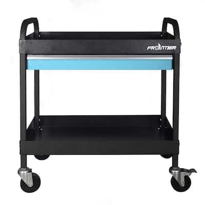 30.25 in. 2-Tray 1-Drawer Heavy-Duty Rolling Utility Tool Cart in Black