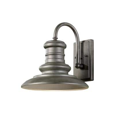 Redding Station Medium 1-Light Tarnished Silver Outdoor Wall Lantern Sconce with Turtle Friendly Amber 7W PAR20 LED Bulb