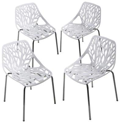 Birds Nest Stackable Plastic Outdoor Dining Chair in White (4-Pack)