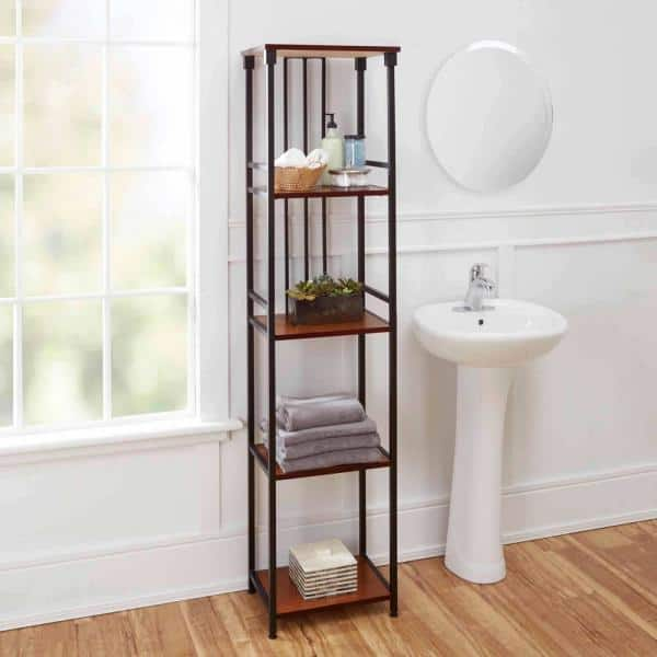 Silverwood Mixed Material Bathroom 16 In W 5 Tier Etagere In Oil Rubbed Bronze Cpbs1127 Com The Home Depot