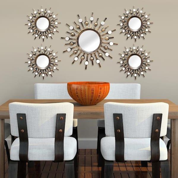 Stratton Home Decor Small Round Bronze Contemporary Mirror 15 In H X 15 In W Shd0087 The Home Depot