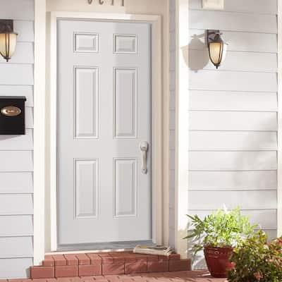 32 in. x 80 in. Utility 6-Panel Left Hand Inswing Primed Steel Prehung Front Exterior Door with Brickmold