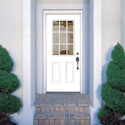 32 in. x 80 in. Premium 9 Lite Primed White Left Hand Inswing Steel Prehung Front Exterior Door with Brickmold