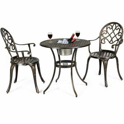 Boyel Living 3 Pieces Metal Outdoor Set Patio Bistro w/ Attached Removable Ice Bucket