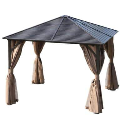 10 ft. x 10 ft. Steel Hardtop Gazebo with Protective Mosquito Netting and Removable Privacy Curtains, Brown