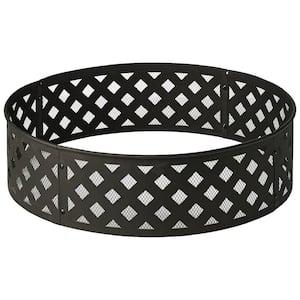 30 in. Steel Fire Ring with Lattice Pattern in Black