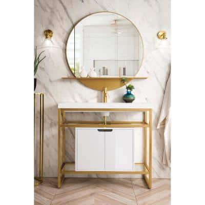 Boston 39.5 in. Double Console in Radiant Gold with Resin Vanity Top in White Glossy with White Basin