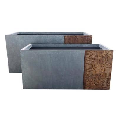 31 in. and 23 in. Long Timber Ridge Lightweight Concrete Modern Rectangle Outdoor Planter Set