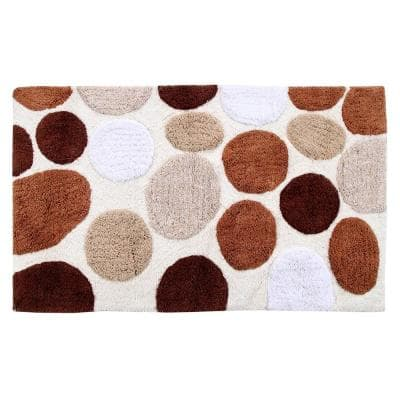 Bath Rug Cotton 34 in. x 21 in. Latex Spray Non-Skid Backing Multiple Brown Pebble Stone Pattern Machine Washable