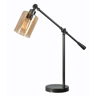 Thornton 25 In. Bronze Desk Lamp with Amber Glass Shade