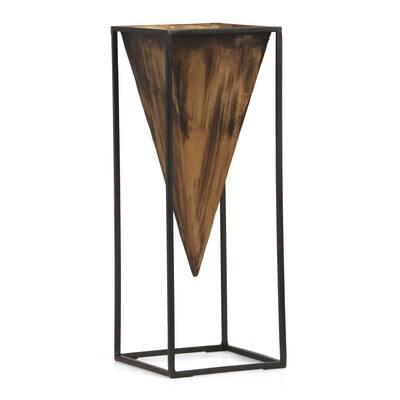 Vinton Large Aged Brass and Black Iron Decorative Vase