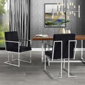 Triniti Black/Chrome Velvet Button Tufted Dining Chair (Set of 2)
