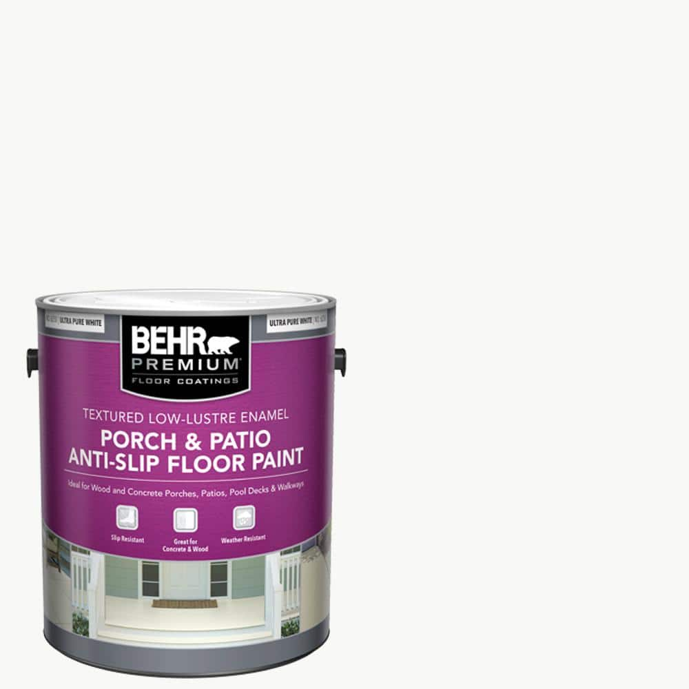 Reviews For Behr Premium 1 Gal Ultra Pure White Textured Low Lustre Enamel Interior Exterior Anti Slip Porch And Patio Floor Paint 625001 The Home Depot