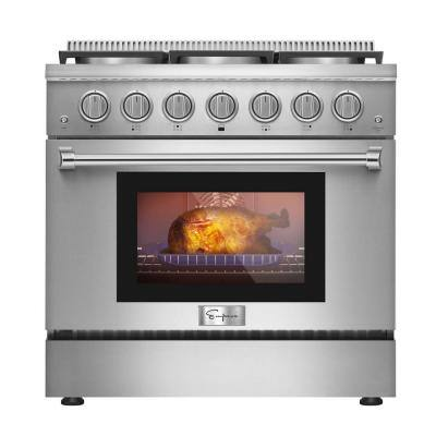 36 in. 5.2 cu. ft. Pro-Style Slide-In Single Oven Gas Range with 6 Sealed Ultra High-Low Burners in Stainless Steel