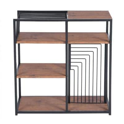 Open Back Bookcase 29.1 in. Brown Metal 4 -Shelf Ladder Bookcase