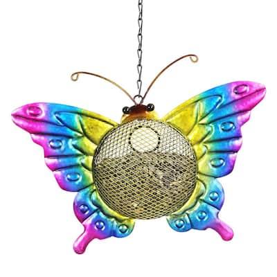 13 in. x 17 in. Metal Solar Hanging Mesh Butterfly Bird Feeder