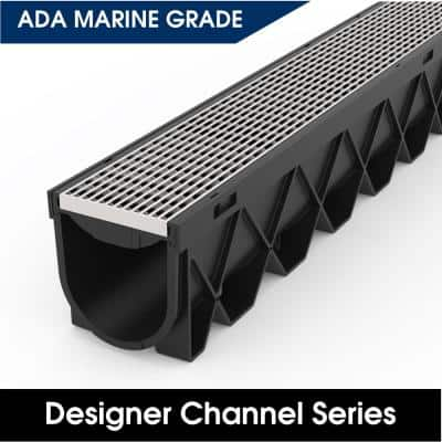 40 in. L x 4.75 in. W Storm Drain Channel Complete with Architectural 316 Stainless Steel Grate