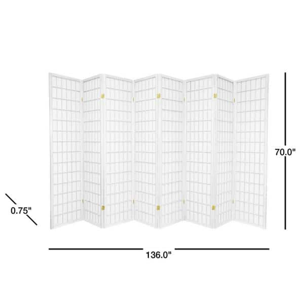 Oriental Furniture 6 Ft White 8 Panel Room Divider Sscwp 8p Wht The Home Depot