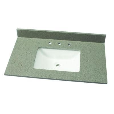 37 in. W Quartz Single Vanity Top in London Fog with White Sink