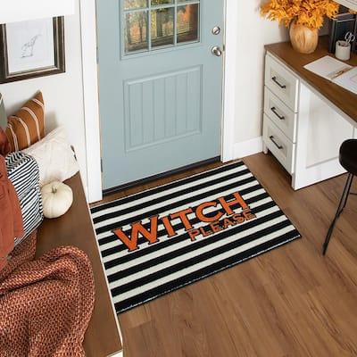 Witch Please Black 2 ft. 6 in. x 4 ft. 2 in. Halloween Indoor Area Rug